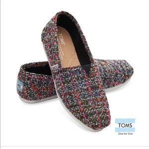 Tom's Wool Black Pink Mix Boucle Slip Ons